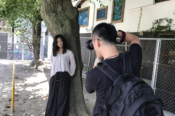 中崎町でポートレート撮影
